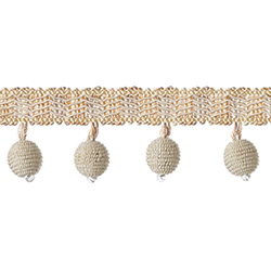 "1½"" Mingled Globe Fringe - Cream"